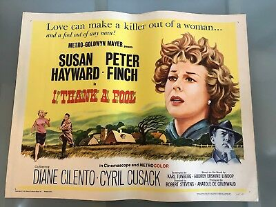 ORIGINAL HALF SHEET POSTER 22x28: I Thank a Fool (1962) Susan Hayward
