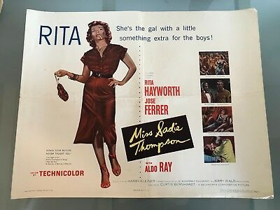 ORIGINAL HALF SHEET POSTER 22x28: Miss Sadie Thompson (1953) Rita Hayworth