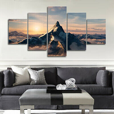 Peak Snow Mountain in Sunset 5 Pcs Canvas Wall Room Home Decorating Poster