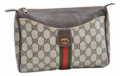 a5cbbf0d0cc Authentic GUCCI Web Sherry Line Clutch Bag GG PVC Leather Brown 64569