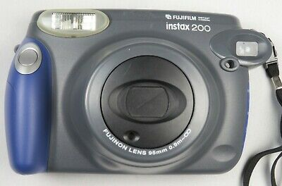 Fujifilm Instax 200 Instant Camera Gray Black Fujinon Lens 95mm Polaroid Working