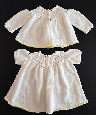 Vintage Hand Knit, Baby Dress & Jacket, Exc Cond! Perfect For Baby / Reborn Doll