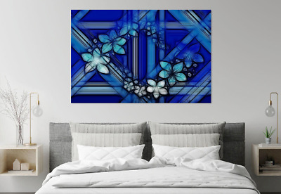 Amazing Abstract Flowers Blue Design  Print Home Decor Wall Art choose your size