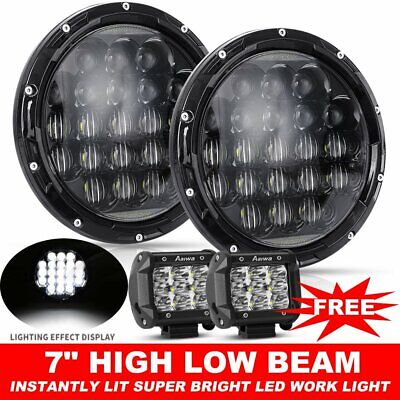 """2X 7inch CREE High-Low Beam DRL Headlight LED Driving Light For Jeep +4"""" Pods"""