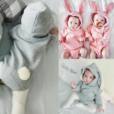 Easter Bunny Newborn Kid Baby Girl Boy Long Sleeve Hooded Romper Outfit Bodysuit