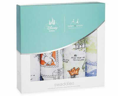 Aden and Anais Disney Winnie The Pooh Baby Classic Muslin Swaddles, Multicolour