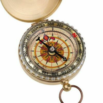 Vintage Brass Dalvey Style Compass with Lid- Old Nautical Pocket Watch Chain USA
