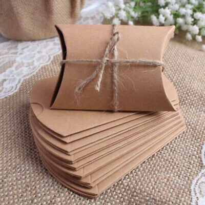 50/100x Craft Paper Bags Pillow Box Gift Cake Bread Candy Wedding Party Fa ROL