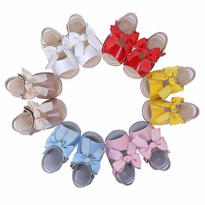 Baby Girls Bow Shoes Sandals Flat Heels Toddler Kids Summer Party Holiday Beach