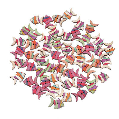 50pcs Wood Scrapbooking Fish Mixed 2 Holes For Clothing Sewing Buttons DIY B