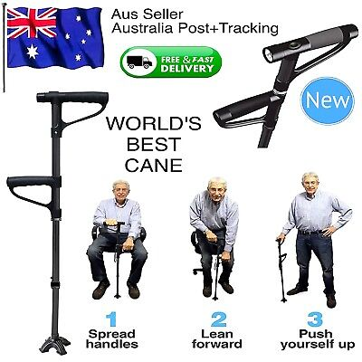 Walking Stick Cane Folding With Light LED Strap Strong Sturdy Dual Handle Black