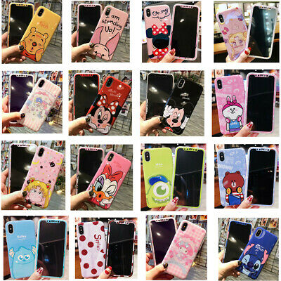Cartoon Tempered Glass Screen Protector + Soft Case For iPhone 6 6S 7 8 X XS XR