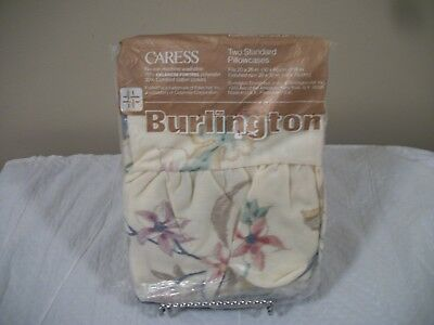 Vintage New Burlington Caress Floral Ruffle Standard Pair of Pillowcases 20 x 30