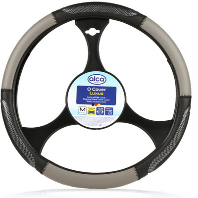 PREMIUM ALCA STEERING WHEEL COVER 37-39cm BLACK GREY !!!