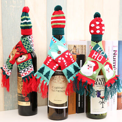 Wine Bottle Cover Knitted Scarf and Hat Bottle Bag Festival Tableware