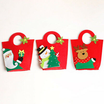 Christmas Decor  Snowman Santa Claus Gift Bags Tote Candy Containers Holders B