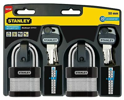 Stanley 50 mm Laminated Padlock Standard Shackle (Pack of 2)