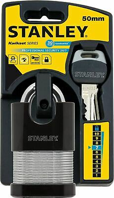 Stanley 50mm Shrouded Laminated Padlock with 2 Keys