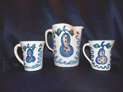 M.A. Hadley Pitcher and 2 Cup Set Ceramic Grapes Pears Art Pottery Folk Country