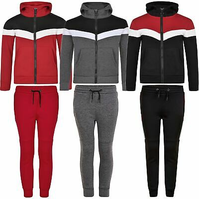 Kids Tracksuit Boys Girls Contrast Details Hooded Sweater Trousers Pants 3-14 Y