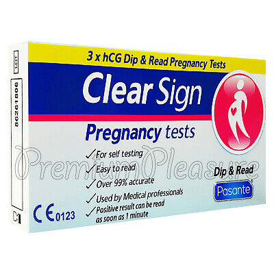 3 x Pasante Clear Sign Pregnancy test hCG Dip & Read Self-test Fast 1minute read