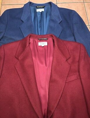 Lot of 2 Vintage L.L. Bean Women's Red Blue Blazer Jacket - Sz 14P - Made in USA