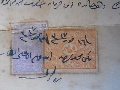 #8245 Ottoman Empire Greece document w/ 2 revenue stamps early 1900`s aprox.