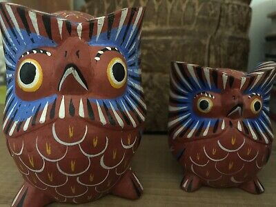 2 VINTAGE 70s MEXICAN FOLK ART WOODEN HAND CARVED & PAINTED OWLS Southwest Boho