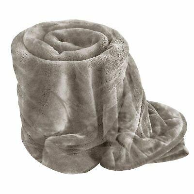 Luxury King Size 200 x 240 Silver Soft MINK FAUX FUR BLANKET Bed Sofa Throw