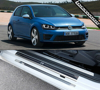 VW Golf Mk7 R (Released 2014) 2 Door Stainless Sill Protectors / Kick Plates