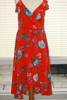 Ladies Orange multi frilled dress By New Look uk size 14