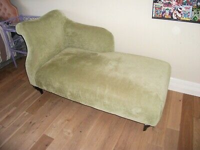 Two Seat Chaise Lounge Pale Apple Green.