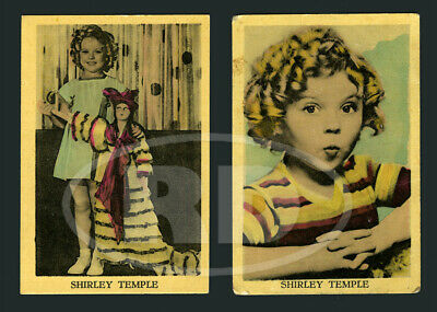 """Pair of 1930s Shirley Temple 2 3/8 x 3 1/2"""" Dutch Color Litho Trading Cards #2"""
