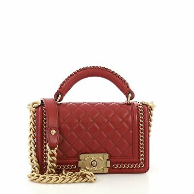 55a6c55b4947 CHANEL CHAIN HANDLE Boy Flap Bag Quilted Calfskin Small - $6,155.00 ...