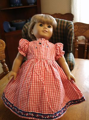 Handmade American Girl red&white gingham dress w patriotic embroidery and trim