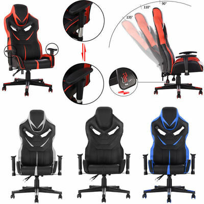 Leather Gaming Racing Office Chair Executive Recliner Armrest Adjustable Swivel