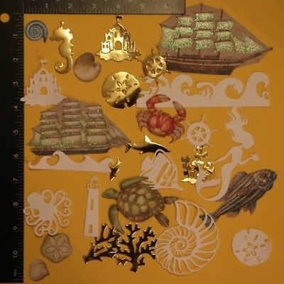 #C lot of Nautical & Sea Life Die Cut Embellishments Scrapbooking Cards 28pc