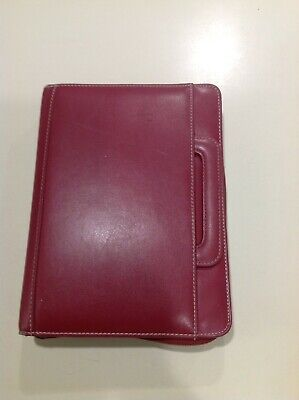 """CLASSIC 1.0"""" Red FAUX LEATHER Franklin Covey Day One Planner BINDER Handles 4334"""