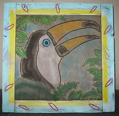 Very Weathered Folk Art Toucan on plywood Signed Rinehart