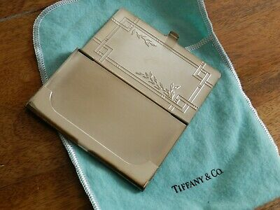 Vtg Sterling Silver 925 Tiffany & Co. Business Card Case Holder & Pouch