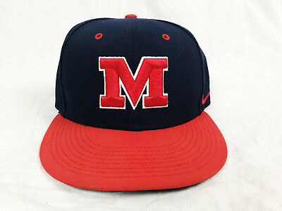 factory price 461e6 e59e4 Nike Ole Miss Baseball Hat Cap Fitted 7 1 4 New Mississippi Blue Red Navy