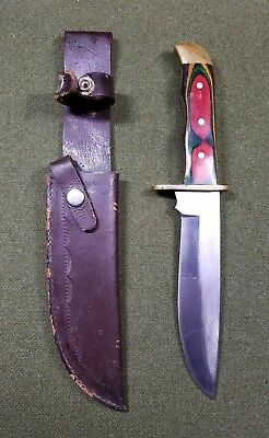 """12"""" Pakistan Knife Leather Sheath Fighting Survival Hunting Bowie Style Wood"""