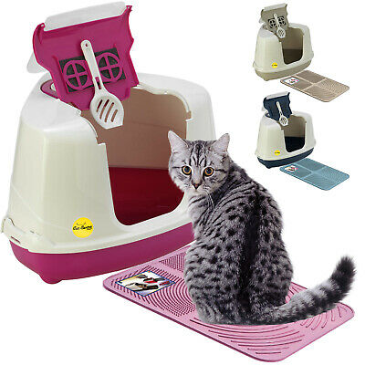 CatCentre® Large Hooded Corner Cat Litter Tray + Toilet Box Mat in 4 Colours