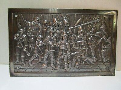 Vintage Wall Brass Metal Embossed Punched Plaque Scene Nightwatch by Rembrandt