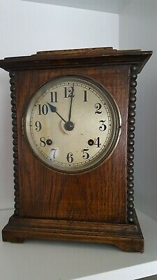 Antique Oak Cased Striking Mantel Clock