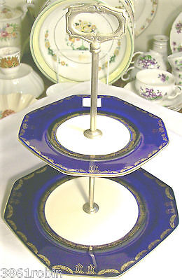 Two-Tiered Octagonal Server Cobalt Blue & Gold Ceramic 1920s-30s Art Deco Japan