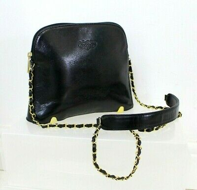 Vtg 90s Black Leather Gold Hardware Feet Box  Blogger Cross Body Messenger Bag