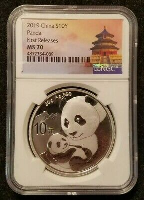 2019 China Silver 10 Yuan Panda NGC First Releases MS70