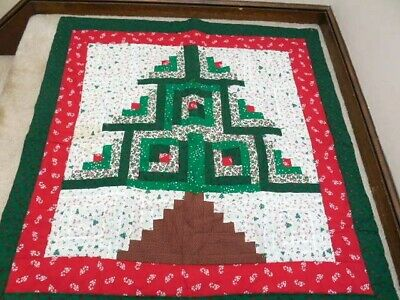 Log Cabin Christmas Tree Quilt.Christmas Quilt Christmas Tree Wall Hanging Log Cabin Design Sale