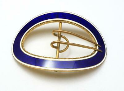 Vintage Classic Blue Enameled Oval Brass Belt Buckle Large Heavy